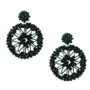 INAstyle I Steckerohrring Spectra in Grün mit großem Anhänger und vielen kleinen Glaskristallen!