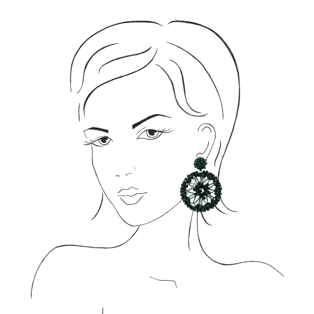 INAstyle I Steckerohrring Spectra in Grün an einer Frauenskizze!