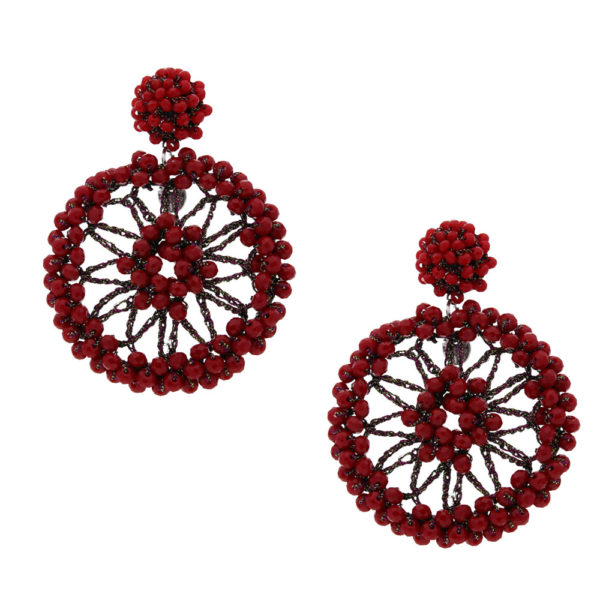 INAstyle I Steckerohrring Spectra in Rot mit Glaskristallen und Lamé-Garn!