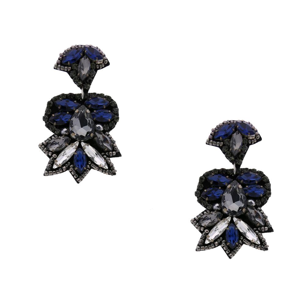 INAstyle I Steckerohrring Targetta in Blau, Silber und Grau mit Glaskristallen!