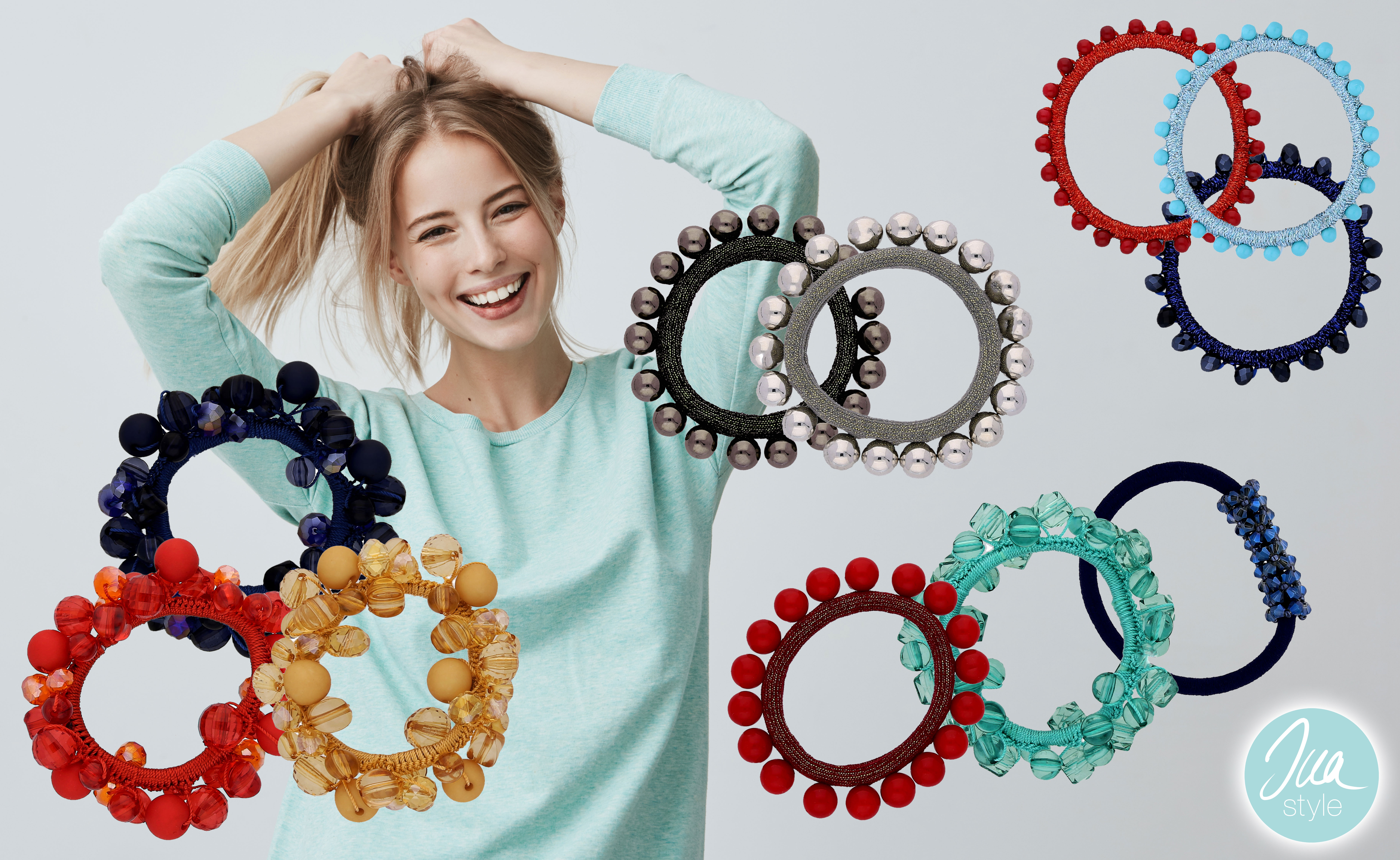 INAstyle I Haargummis in unterschiedlichen Faben mit Perlen und Steinen besetzt!