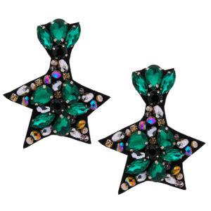 INAstyle I Steckerohrring Liberta in Grün aus Stoff und Glaskristallen!