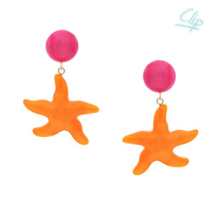 INAstyle I Ohrclip Asteria in Orange und Pink