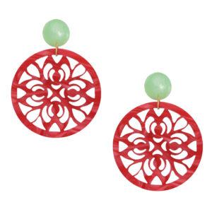 INAstyle I Steckerohrring Paola in schimmerndem Hellgrün und Rot